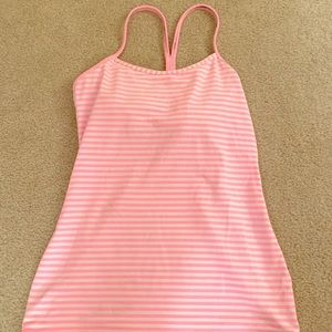 Lululemon pink white striped work out top sz S/M